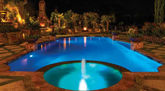 Pool spa and backyard lights information in ground pool for Pool design regrets